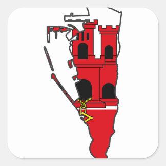 Gibraltar Flag map GI Square Sticker