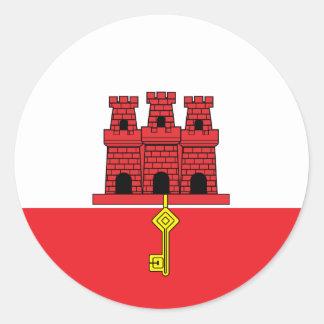 Gibraltar High quality Flag Round Sticker