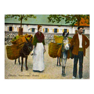 Gibraltar, street hawkers with donkeys postcard