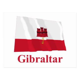 Gibraltar Waving Flag with Name Postcard