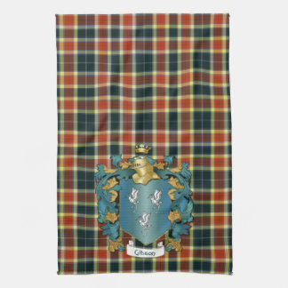 Gibson Coat of Arms and Modern Tartan Hand Towels