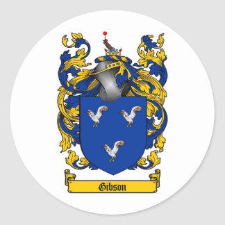 GIBSON FAMILY CREST -  GIBSON COAT OF ARMS ROUND STICKERS