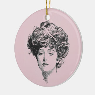 Gibson Girl In Pink Christmas Ornament