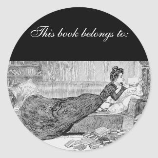 Gibson Girl Reading a Book Round Stickers