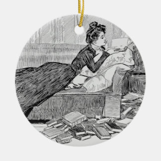 Gibson Girl Reading Christmas Ornament