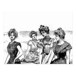 Gibson Girls at the Beach Postcard