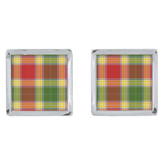 Gibson Tartan Print Silver Finish Cuff Links