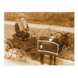 Giddy up, Billy! Vintage Goat Girl in Wagon Post Cards