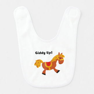 Giddy Up Children's Brown Saddle Horse Cartoon: Bib