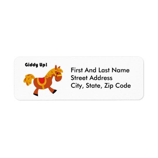 Giddy Up Children's Brown Saddle Horse Cartoon: Return Address Label
