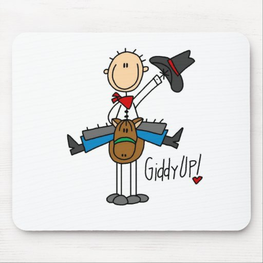Giddy Up! Cowboy Stick Figure Mousepad