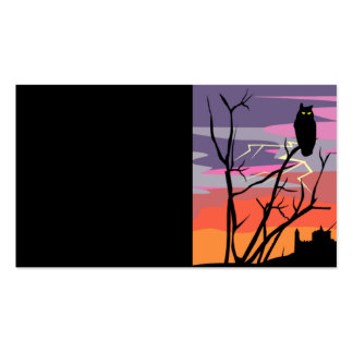 GIFOWL LIGHTENING OWL TREE SCARY HOUSE SUNSET ILLU PACK OF STANDARD BUSINESS CARDS