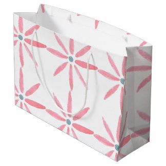 Gift bag decorated with pink and blue flowers