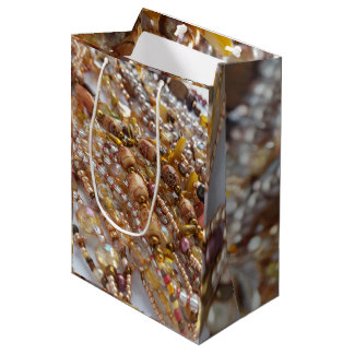 Gift Bag- Earth Tones Bead Print Medium Gift Bag