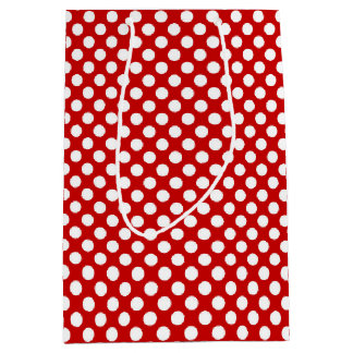 Gift Bag red with white polka dots
