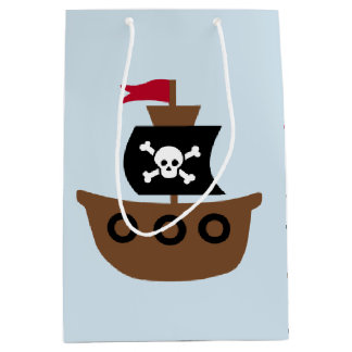 Gift Bag with a pirate ship on a blue background
