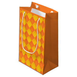 Gift bag with lozenge in orange tones