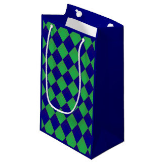Gift bag with lozenge sample in blue and green