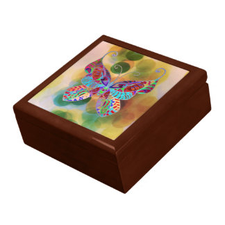 Gift Box Colorful Butterfly Painting