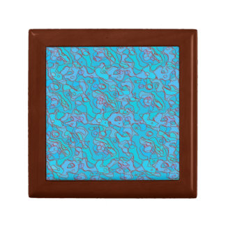 Gift Box - Contours - Red Lines / Blue Background