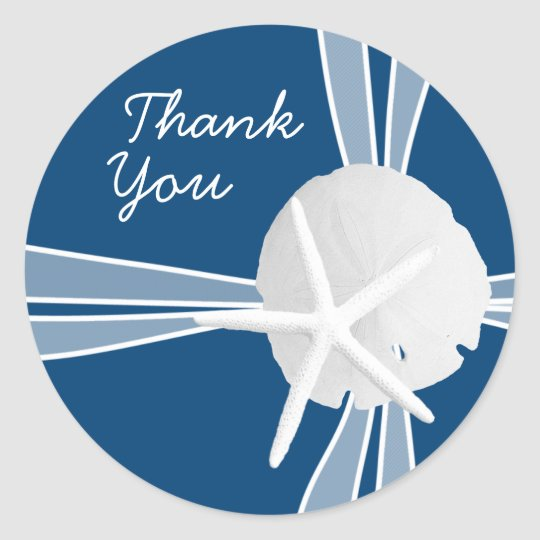 Gift Box Thank You Stickers, Navy Blue Classic