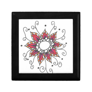 Gift Box With Red Mandala Art