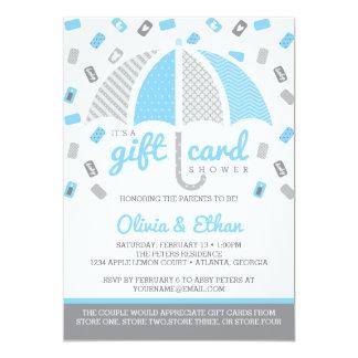 Gift Card Baby Shower Invitation, Baby Blue, Gray 13 Cm X 18 Cm Invitation Card
