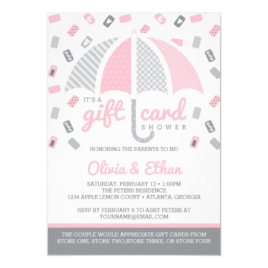 gift card baby shower invitation pink grey zazzlecouk