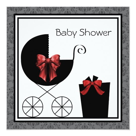 Gift Carriage Red Black Baby Shower Invitations