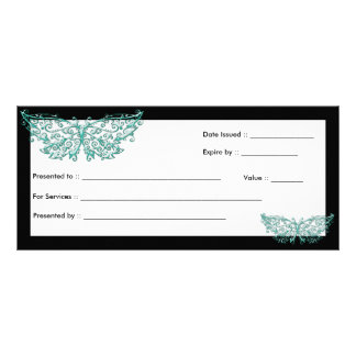 Gift Certificate :: Beautiful Turquoise Butterfly 10 Cm X 23 Cm Rack Card