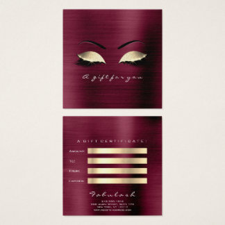 Gift Certificate Burgundy Gold Lashes Makeup Glam