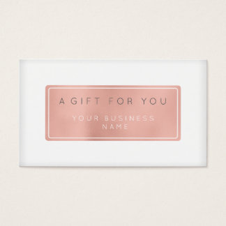 Gift Certificate Card Customized Pink Rose Gold