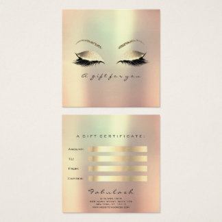 Gift Certificate Champaign Gold Lashes Makeup Glam