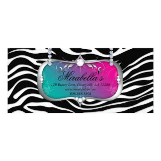 Gift Certificate Fashion Salon Jewelry Blue Pink Full Colour Rack Card