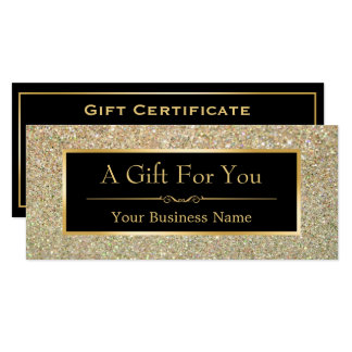 Gift Certificate Fashionable Gold Glitter Sparkles 10 Cm X 24 Cm Invitation Card