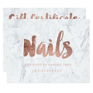 Gift certificate faux chic rose gold Nails marble Card