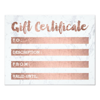 Gift certificate faux rose gold girly Nails marble Card