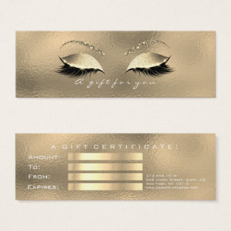 Gift Certificate Glass Faux Gold Lashes Makeup
