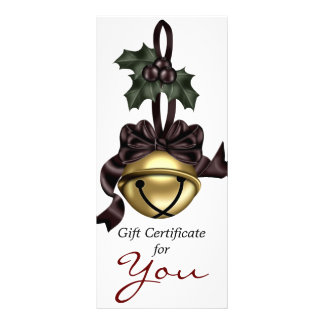 Gift Certificate Gold Bell Dark Red Ribbon