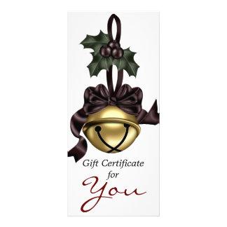 Gift Certificate Gold Bell Dark Red Ribbon 10 Cm X 23 Cm Rack Card