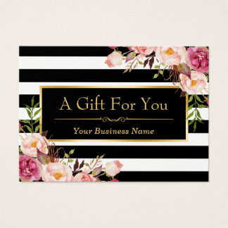 Gift Certificate Gold Floral Black White Stripes
