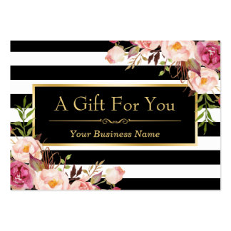 Gift Certificate Gold Floral Black White Stripes Pack Of Chubby Business Cards