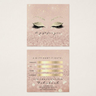 Gift Certificate Gold Glitter Lashes Skin Makeup