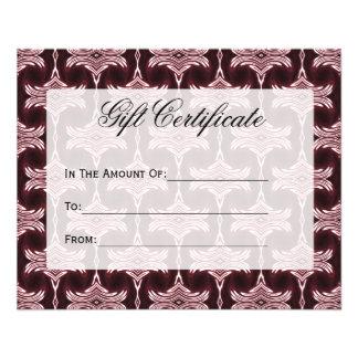 Gift Certificate Maroon Art Deco Custom Flyer