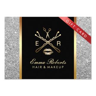 Gift Certificate Modern Silver Glitter Hair Makeup 11 Cm X 16 Cm Invitation Card