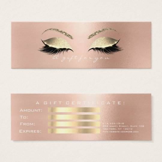 Gift Certificate Rose Gold Lashes Makeup White Pin