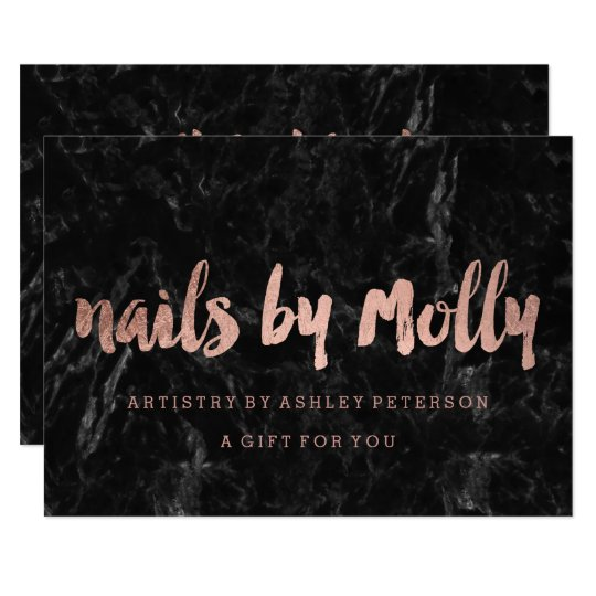 Gift certificate rose gold typography black marble card