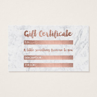 Gift certificate rose gold typography white marble