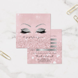 Gift Certificate Silver Glitter Lashes Pink Makeup