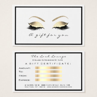 Gift Certificate White Glitter Gold Lashes Makeup